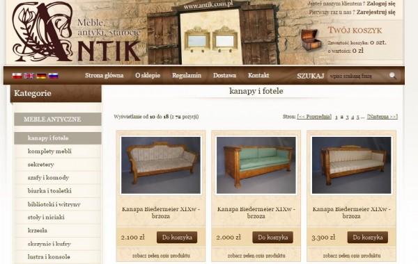 Budowa sklepu internetowego antik.com.pl