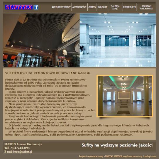 Budowa i pozycjonowanie strony internetowej firmy Sufitex z Gdańska