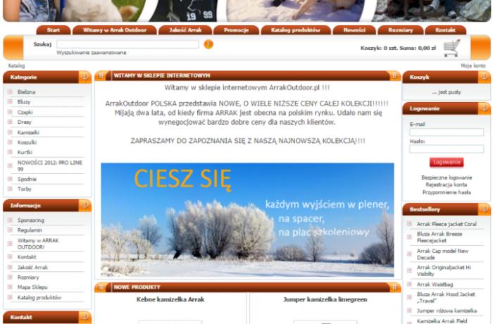 Budowa sklepu internetowego ArrakOutdoor.pl