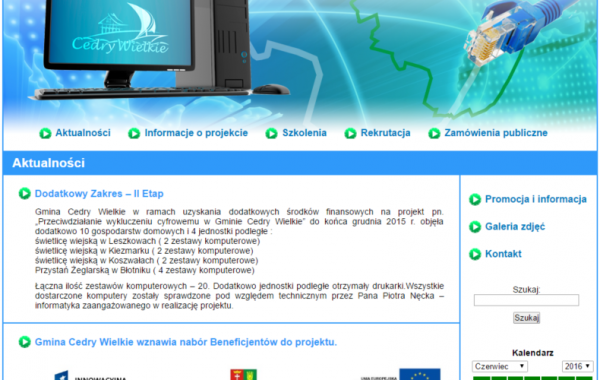 Budowa strony dla Gminy Cedry Wielkie – wykluczeniecyfrowe-cedry.pl